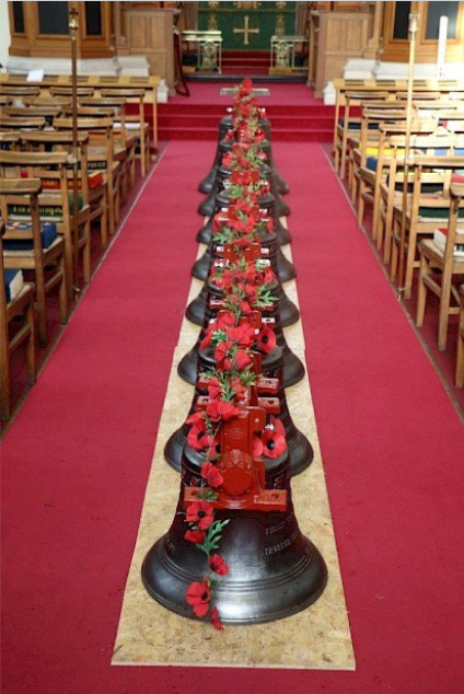 The bells in St Georges Memorial Church -- Photograph from the website  www.stgeorgesmemorialchurchypres.com