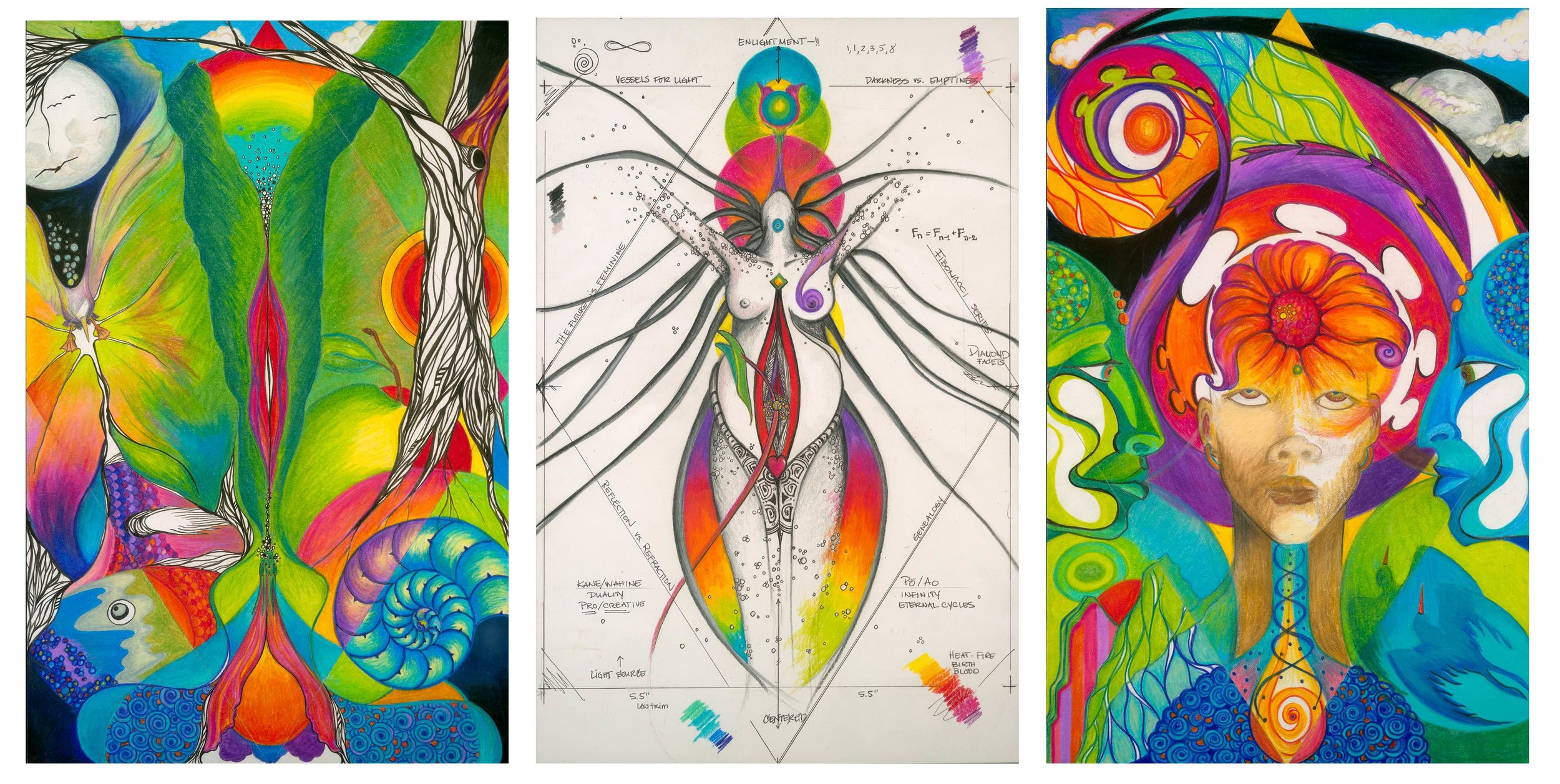 """From left to right: ʻĀina, Kanaka and Akua. Individually the images represent the three principles of the HUA Institute, which is a component of the """"imagined futures"""" concept developed for CTRL+ALT. ©2016 Hānau Creative & Naiʻa Lewis. All rights reserved."""