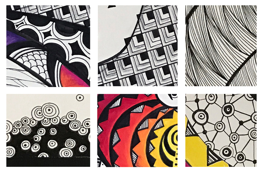 These are close ups of some of the patterns within #Selfie3017. Top to bottom, left to right: Tree-ring and snake, armor, hank (as in yarn), hua, eternal flame, and birth. Each of the patterns hold a specific meaning but these meanings change based on how they are presented and combined with other patterns.
