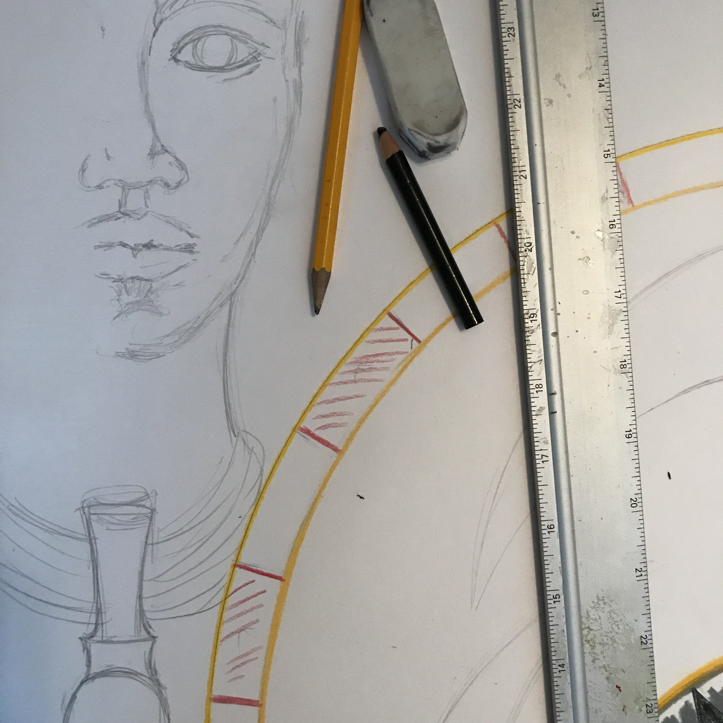 The beginnings of the mural outline starting with the face of a young Kaʻahumanu.