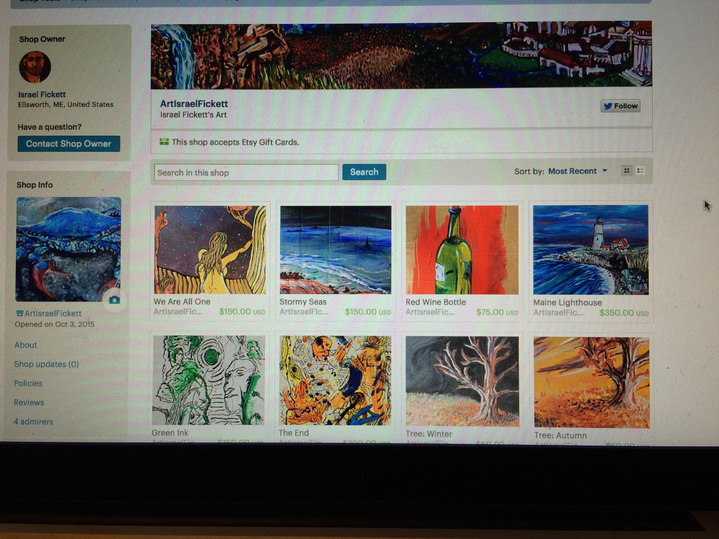 My Etsy store featuring 45 of my original paintings RIGHT NOW! Click the photo to visit!