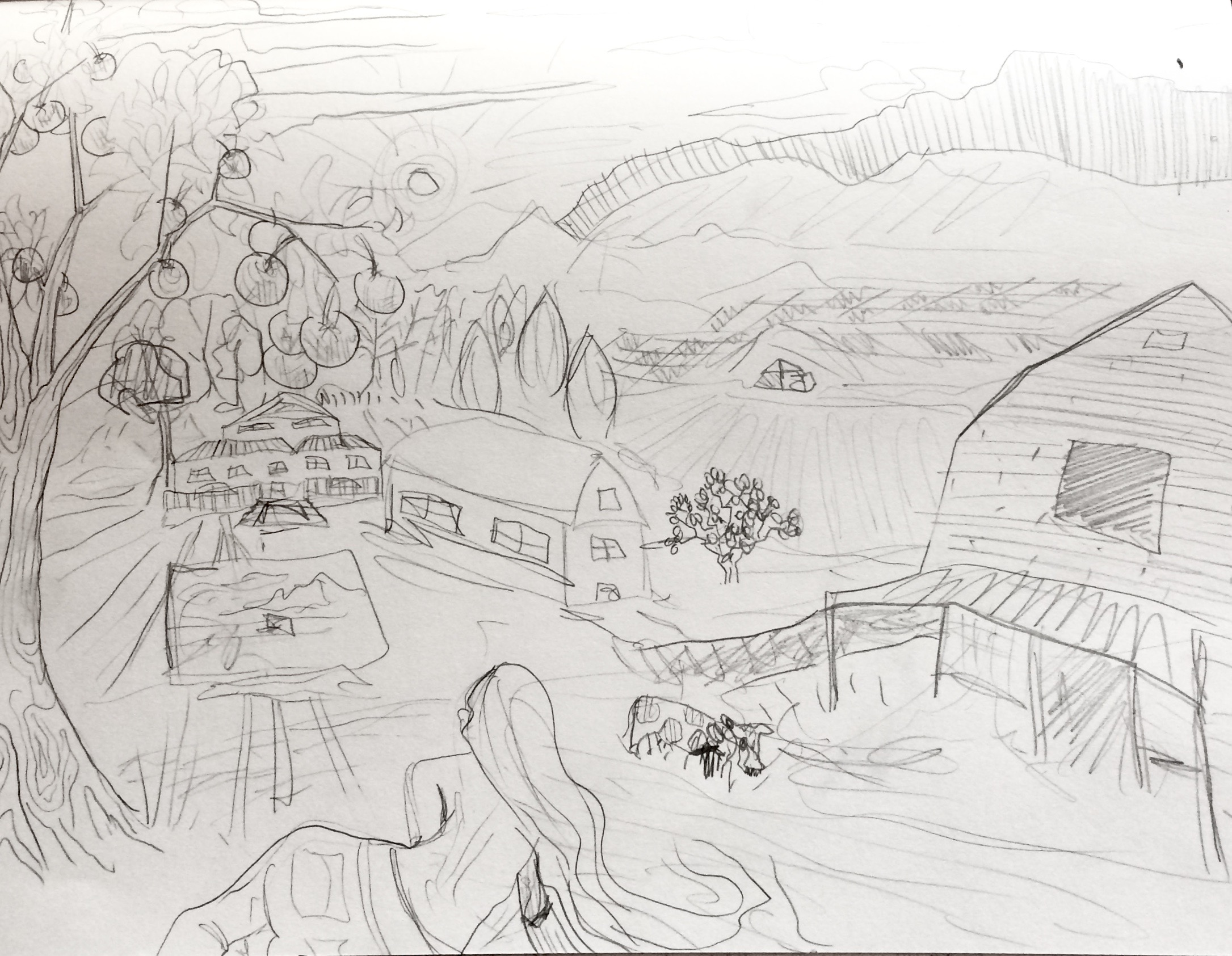 Mock-up sketch of the 'Farms in Georgia' painting, all subject to change due to donor's input and contribution. Click the image to link to the Kickstarter Project!