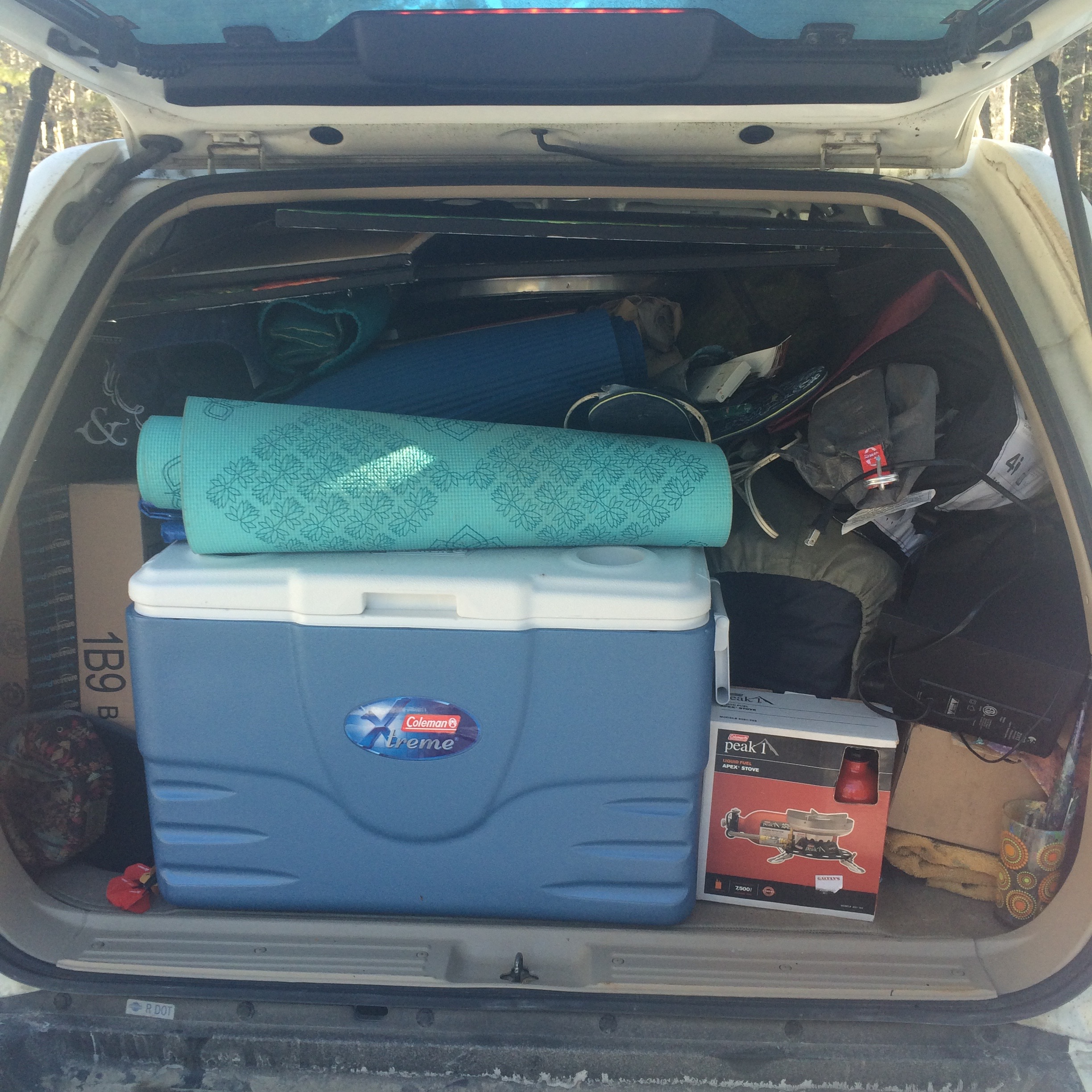 The car all packed up!
