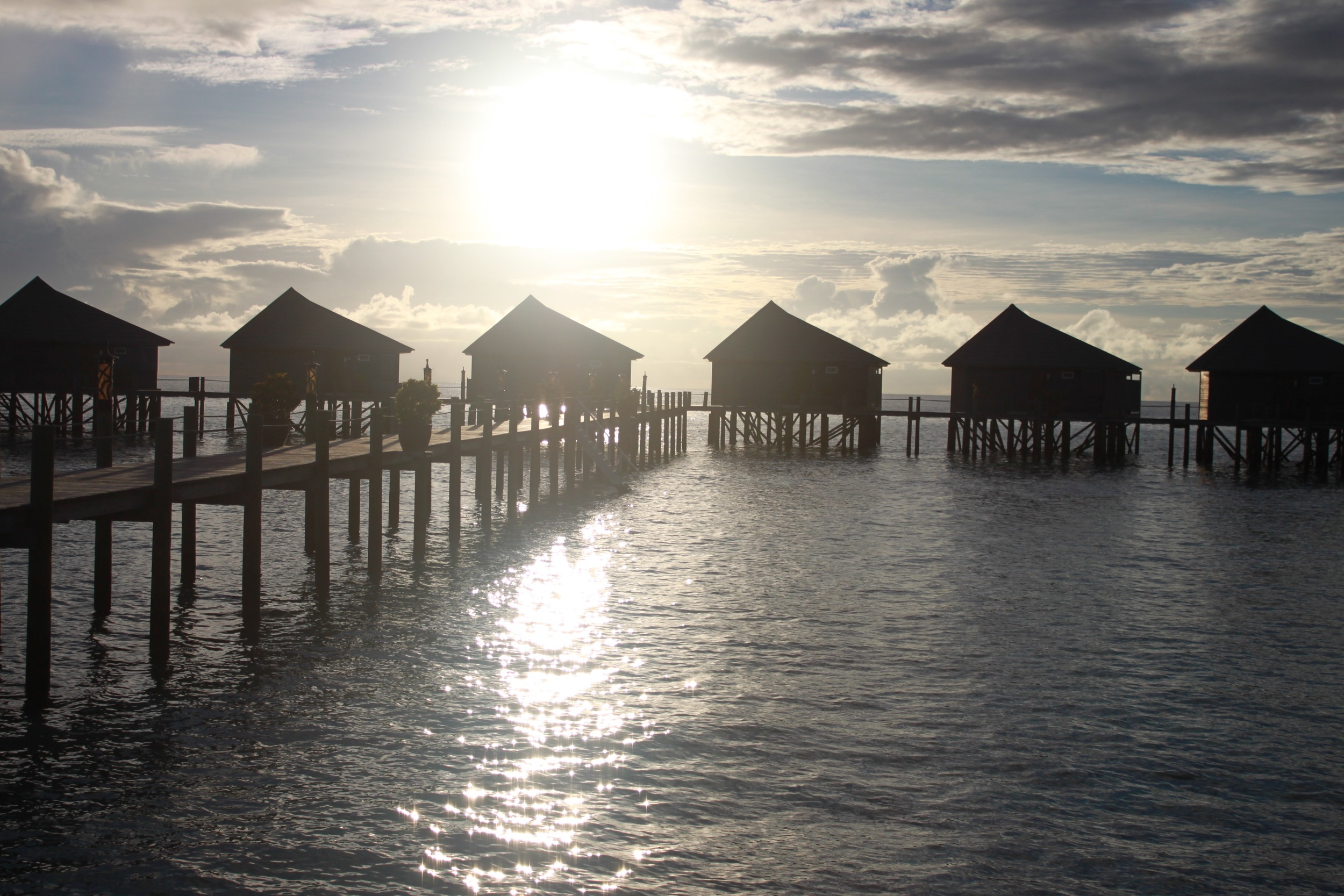 the water villas during sunrise
