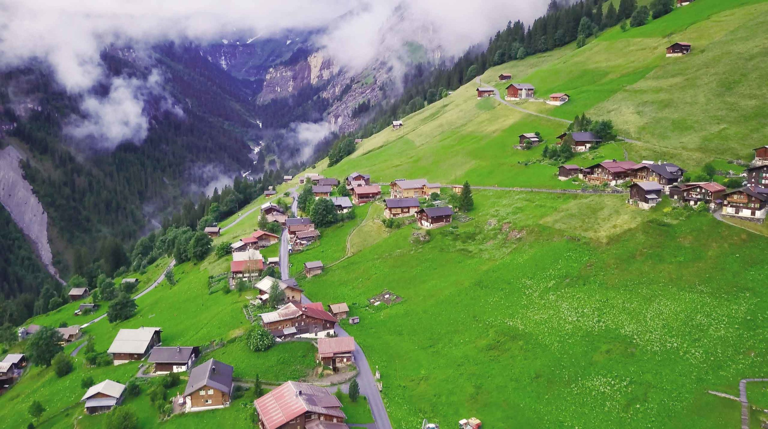 Gimmelwald from above.