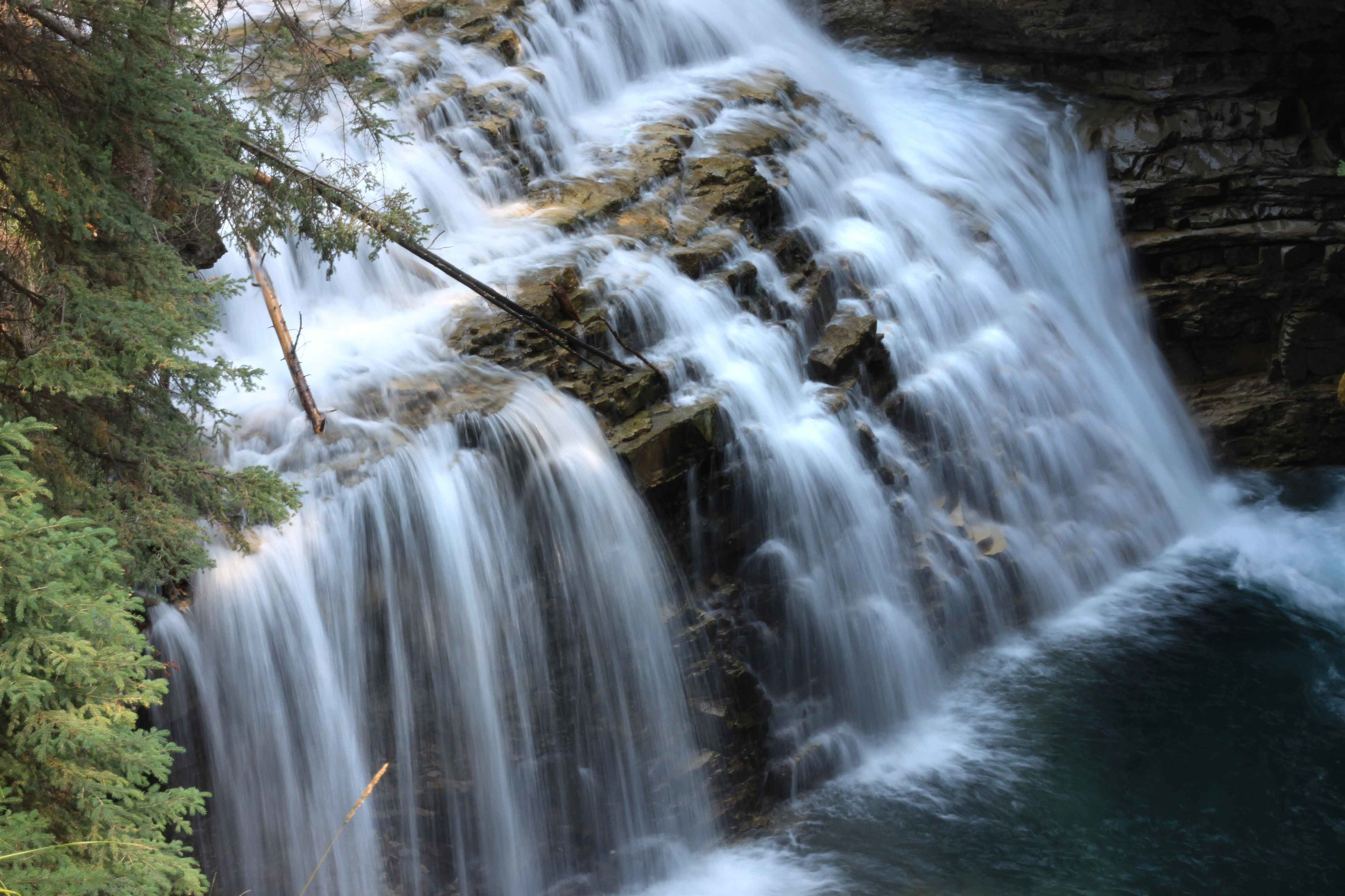 Waterfall between the Upper and Lower falls at Johnston Canyon