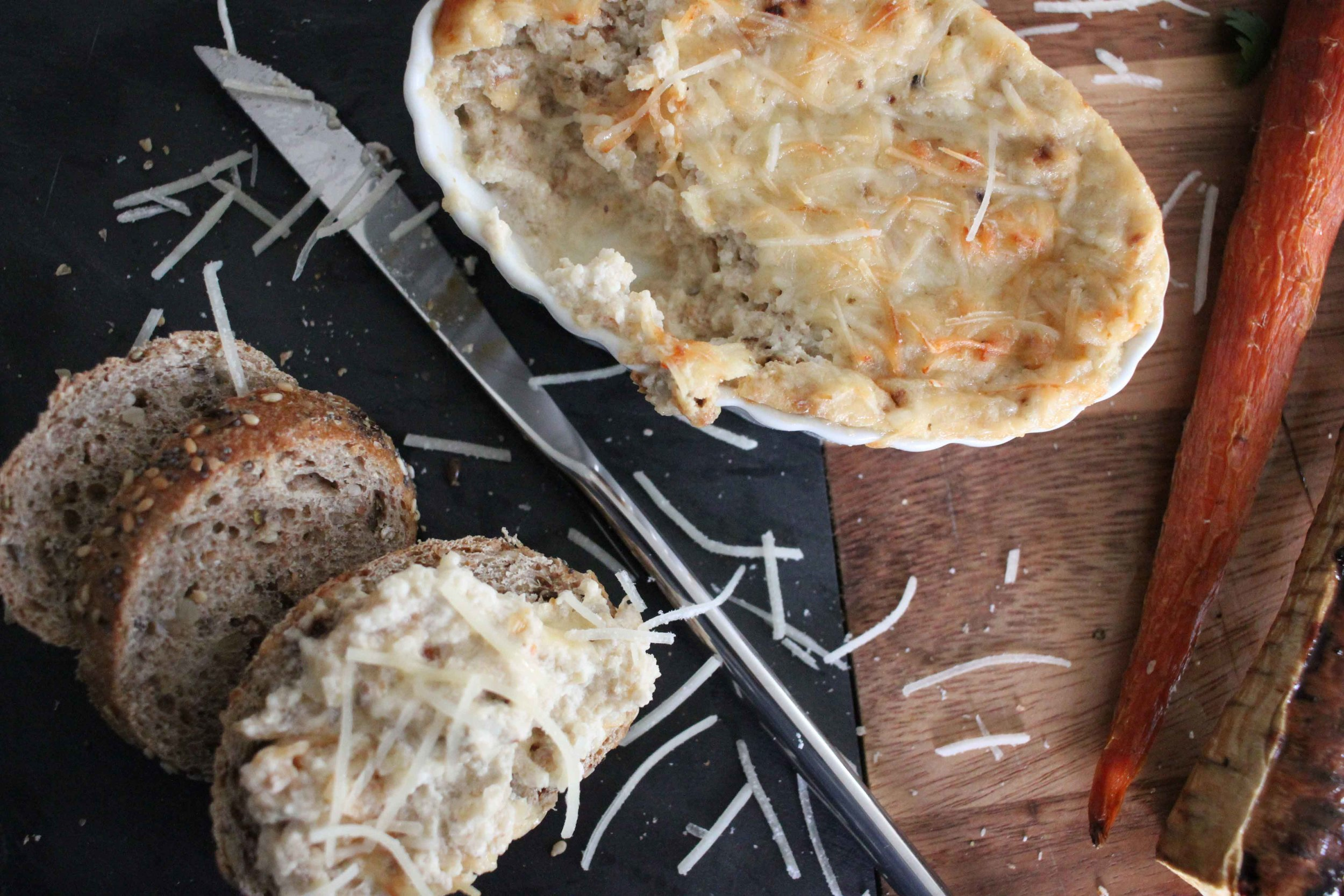 creamy roasted fennel dip served here with a baked baguette.