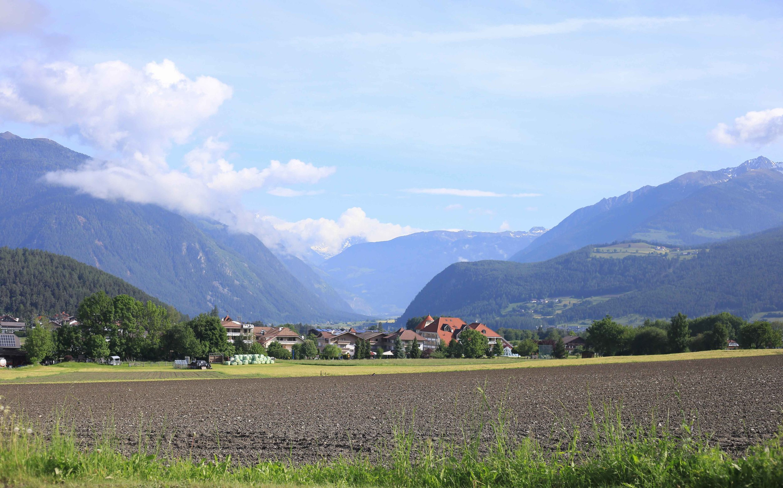 Italian Alps as seen from the charming town of Bruneck (Brunico)