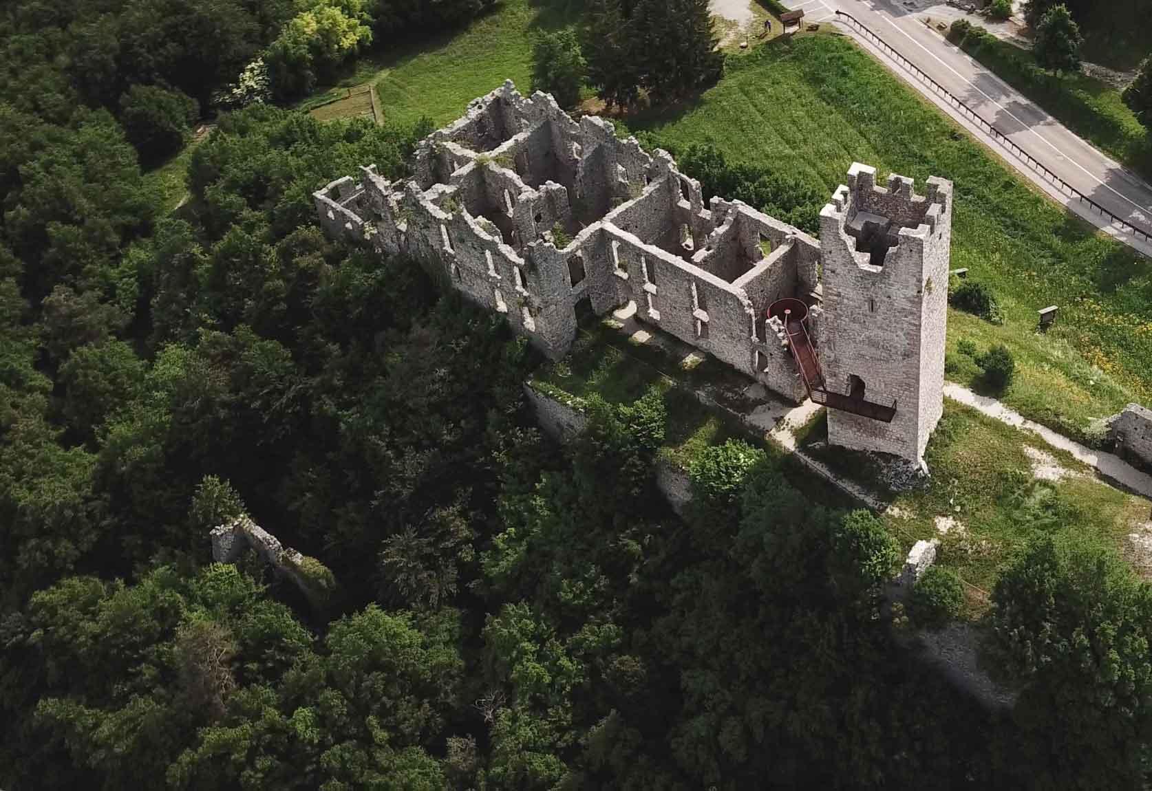 Belfort Castle from above in the Italian Alps.