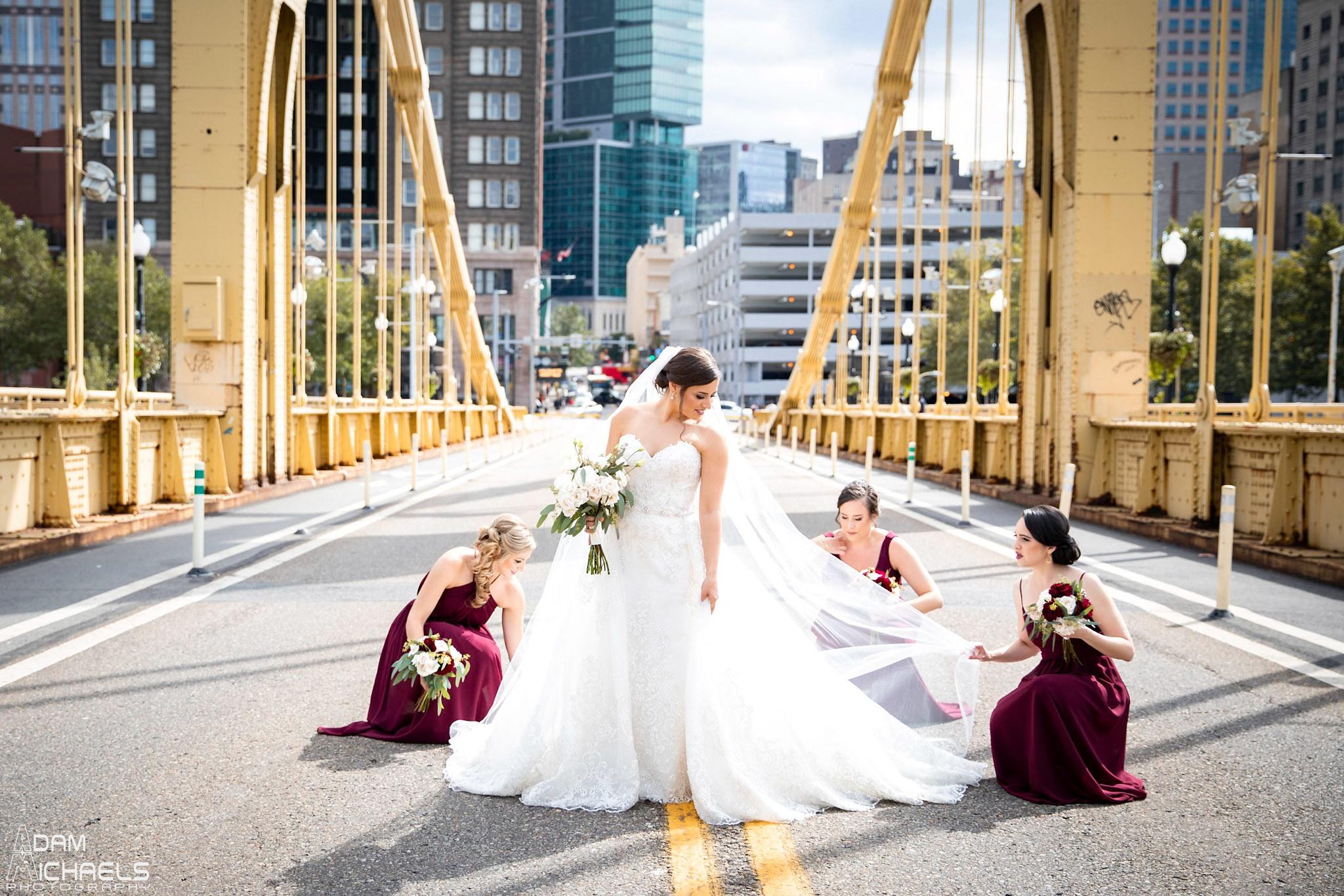 Pittsburgh Clemente Bridge Wedding Bridal Portraits _2592.jpg