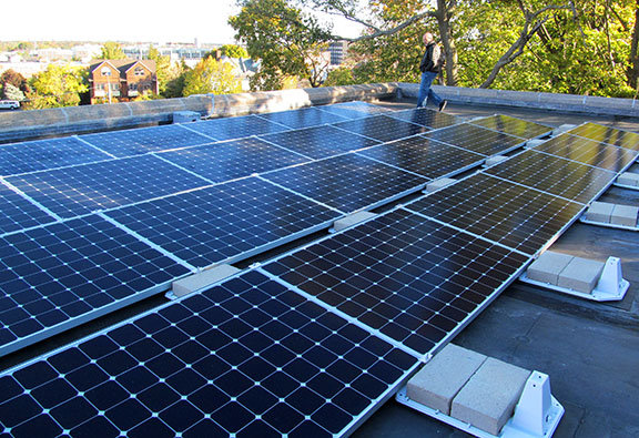 ICC's photovoltaic system consists of 52 solar panels that sit on top of the roof above killam hall.