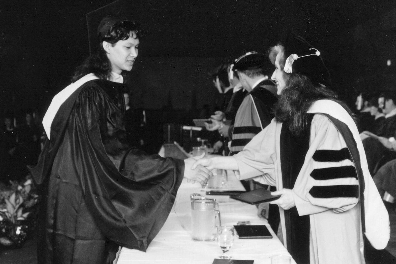 Berklee College of Music, 1992: Receiving my diploma from Bonnie Raitt