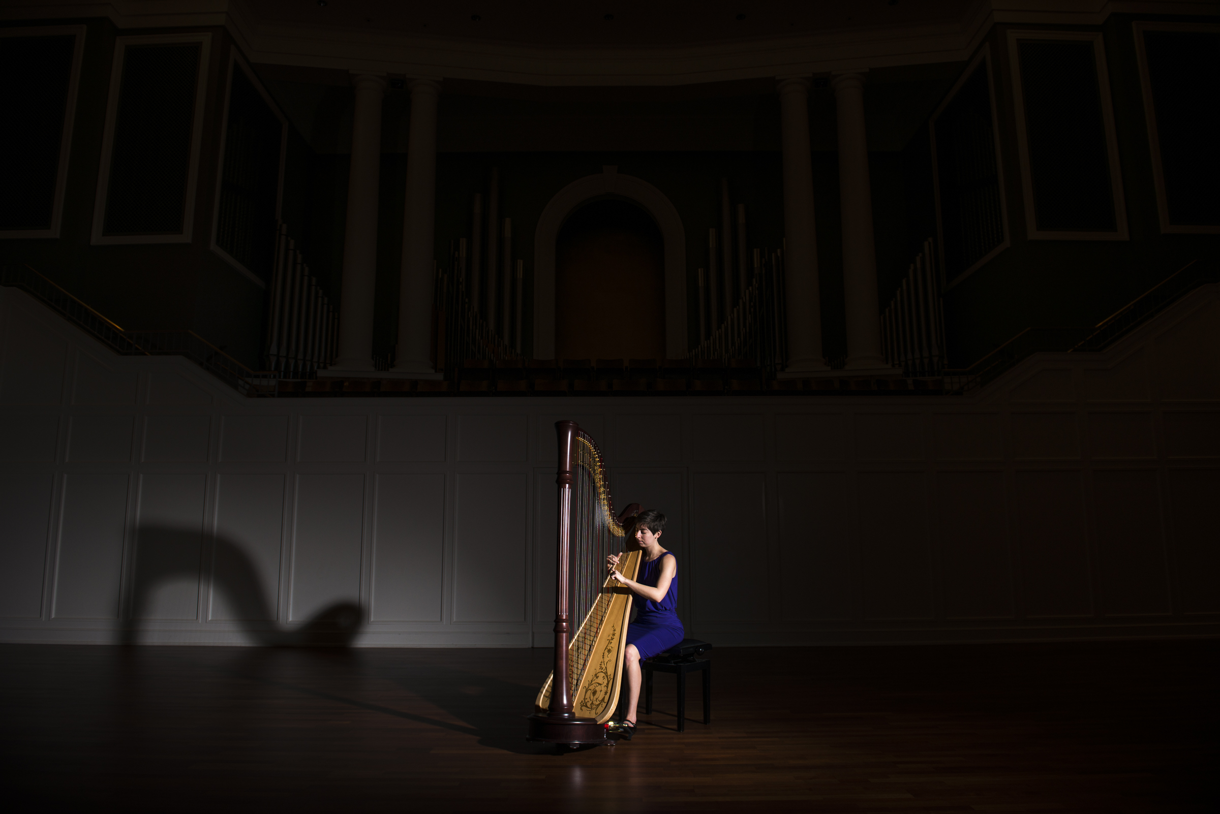 Lauren George, Charleston harpist, at Belmont University's McAfee Concert Hall; Photo by Adam Henderson