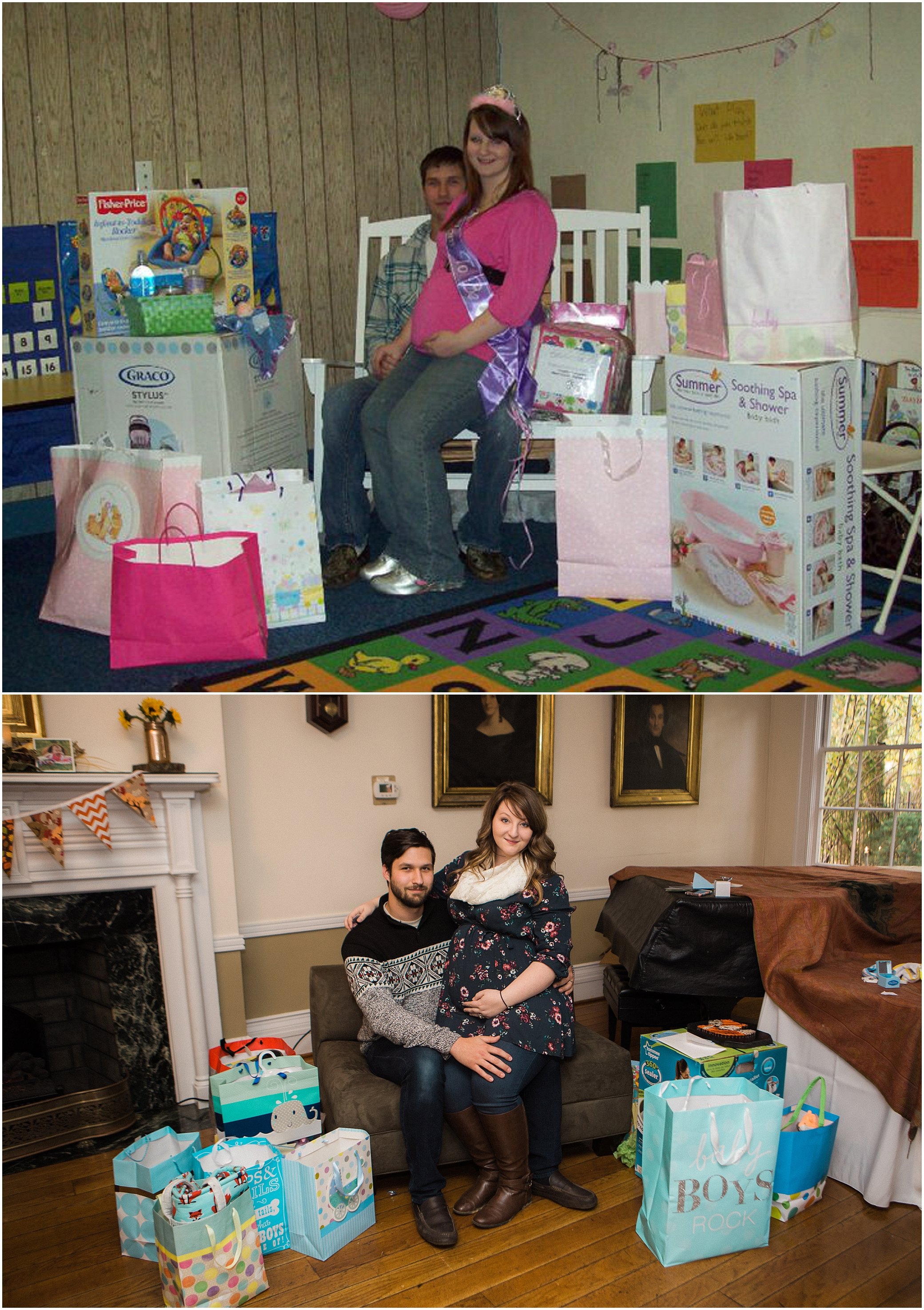 TOP IMAGE (2010) PHOTO CREDIT: My Aunt - Our baby shower 2010 BOTTOM IMAGE (2015) PHOTO CREDIT: My Uncle - Our baby shower 2015