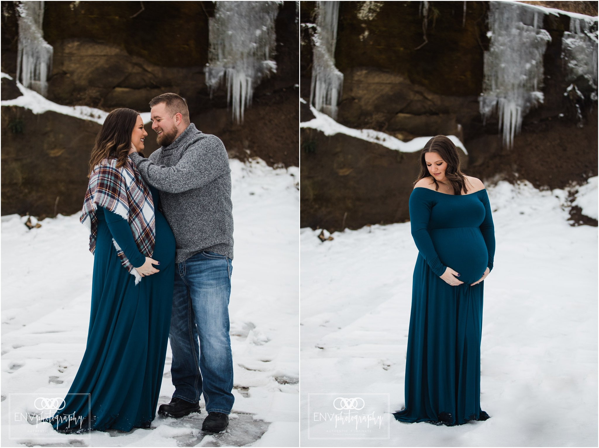 Columbus Ohio Mount Vernon Ohio Winter Waterfall Maternity Photography (2).jpg