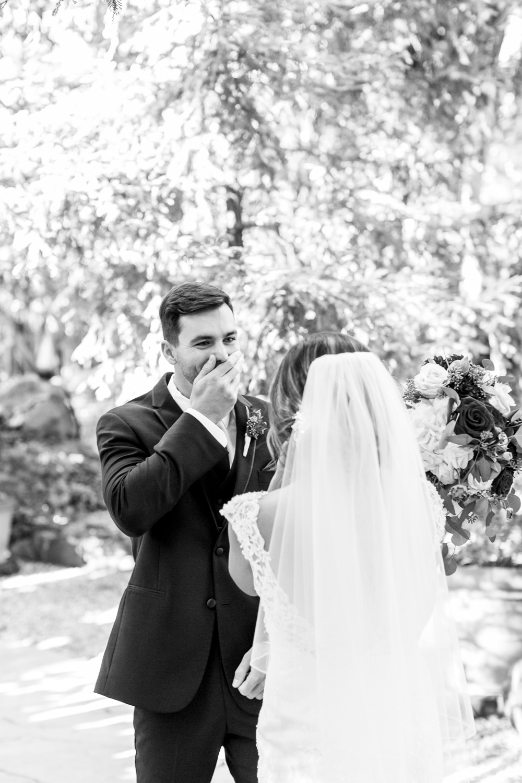 Bride and Groom have first look at Calamigos Ranch wedding.