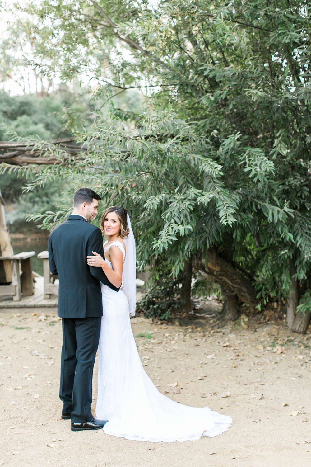 Bride and Groom during wedding at Calamigos Ranch Redwood Room.