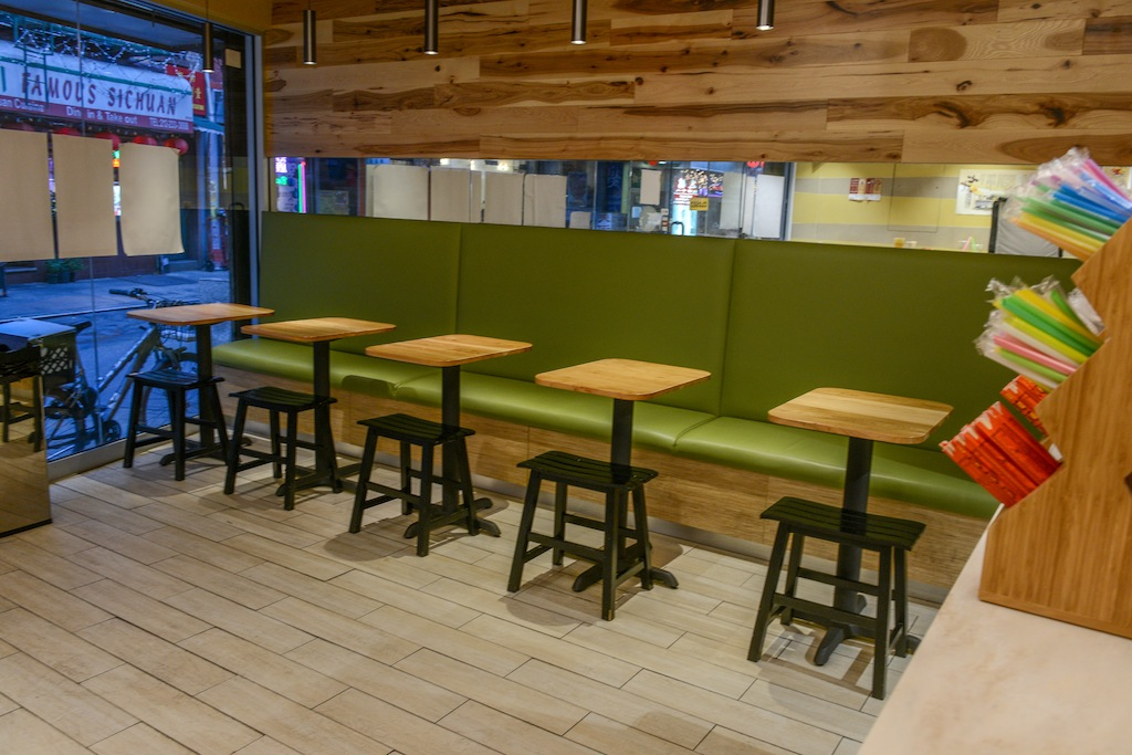 A clean and casual seating environment
