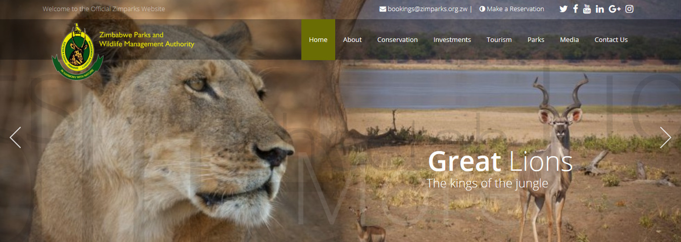 A screenshot of Zimparks' home page.