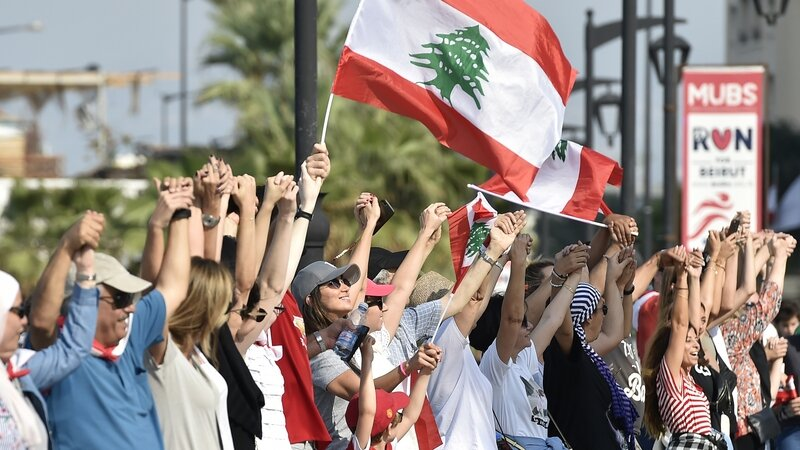 Economic crisis has prompted tens of thousands of Lebanese protesters to take the streets and form a 170-kilometer human chain, stretching from Tripoli in the north to Tyre in the south.   Picture:  RTE