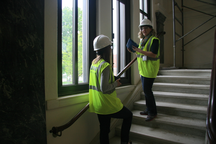 Getting a behind the scenes tour of the Main Library before renovations were complete.