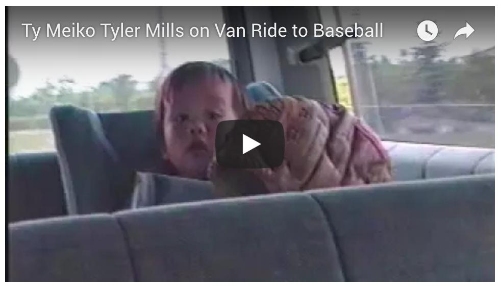 Ty, Meiko, and Tyler Mills in van to baseball game