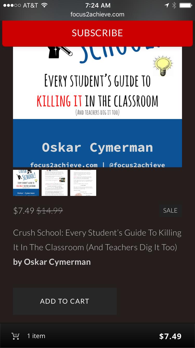 """Crush School"" Book Pre-order Screen"