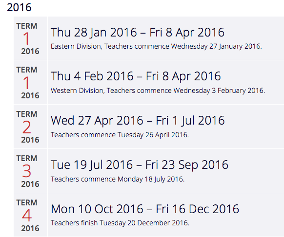 School Year 2016 Calendar for New South Wales, Australia