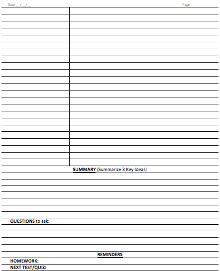 Cornell Notes On Steroids Template Page 2