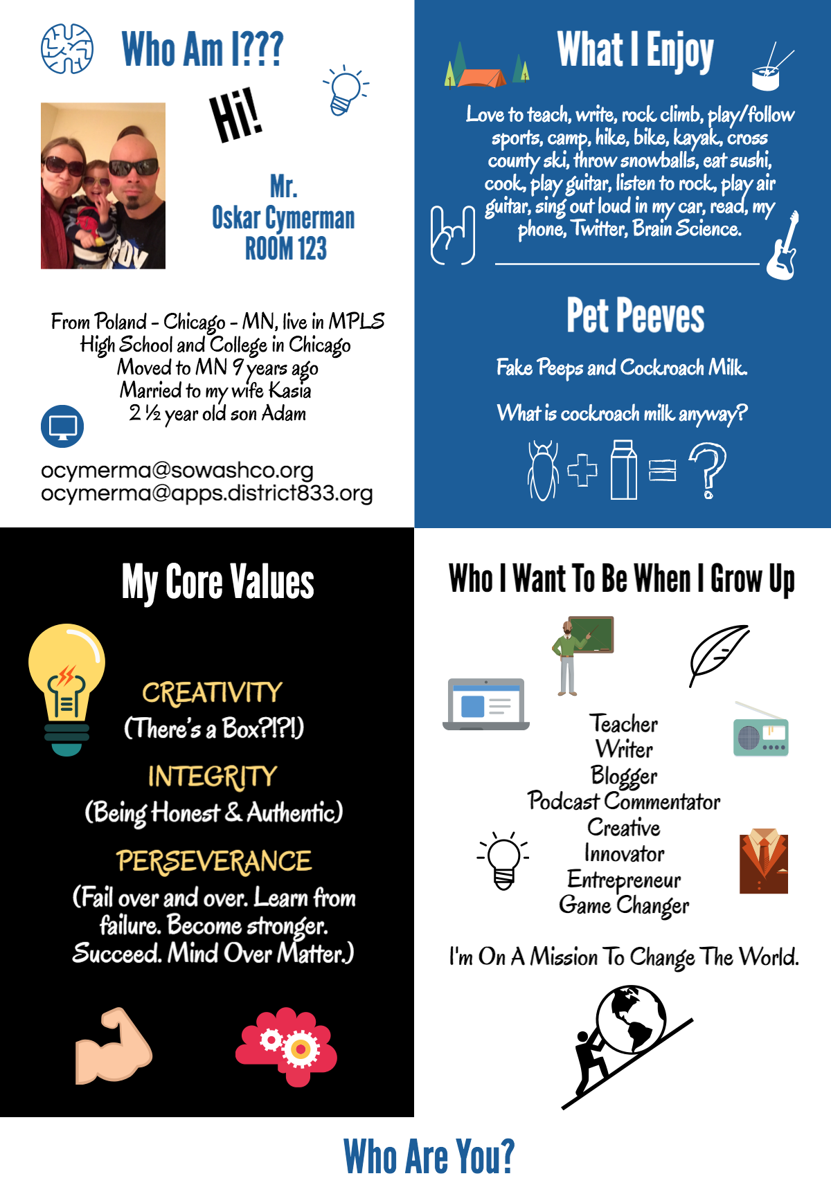 Who Am I Teacher Intro Infographic