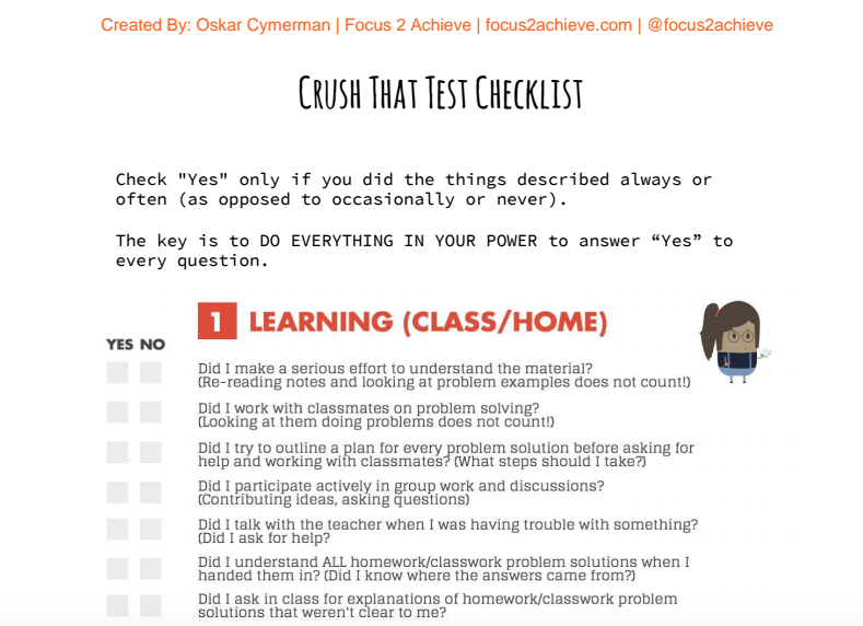 Crush That Test Checklist