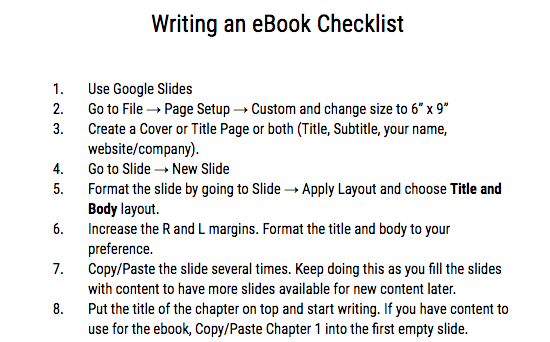 How to Write an eBook in 15 Easy Steps Checklist (Using Google Slides) - FREE