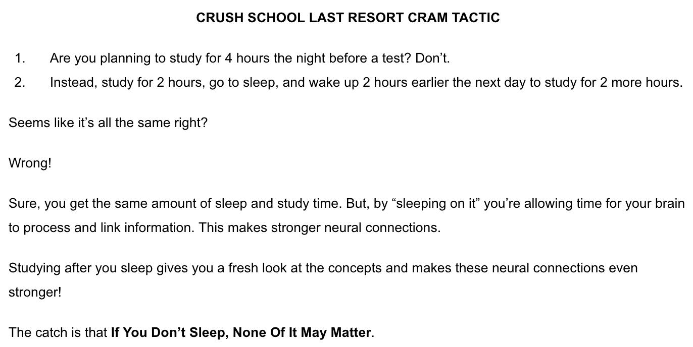 Crush School Last Resort Cram Tactic
