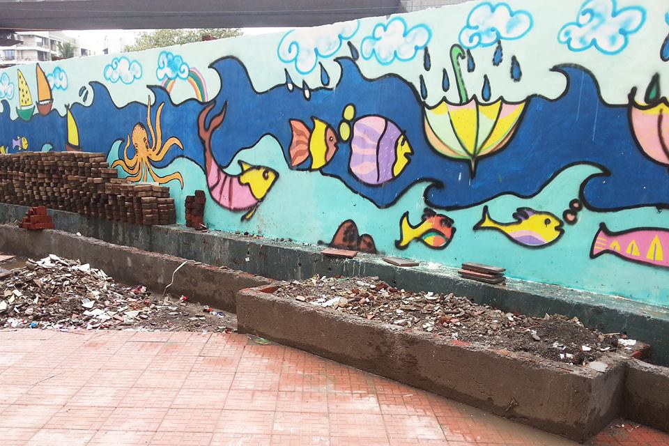 120 feet long mural  done by bB together with children from DBS