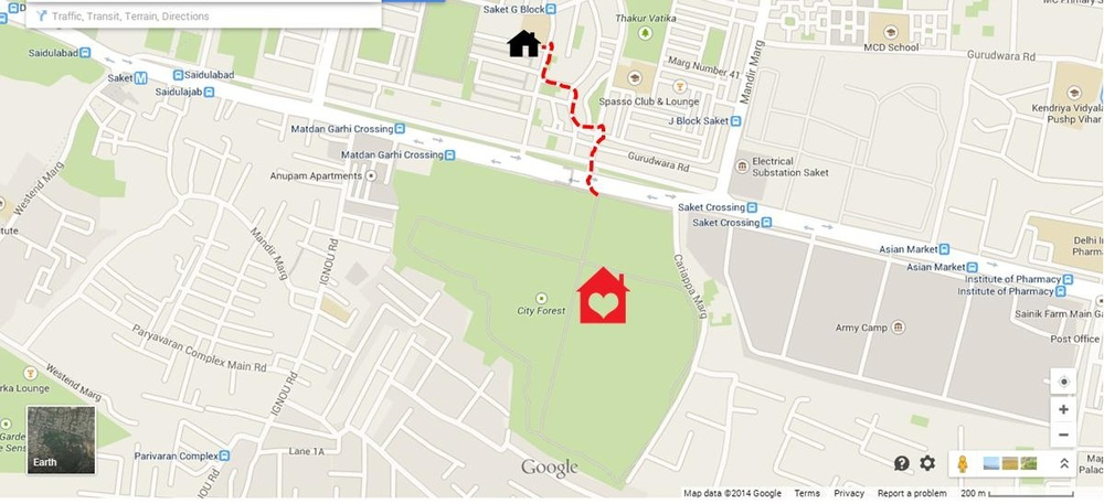 My home in Delhi (illustration on google map by author)