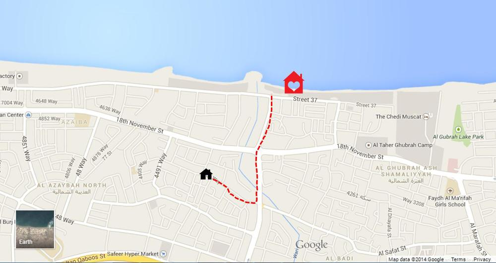 My home in Muscat (illustration on google map by author)