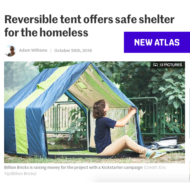 Reversible tent offers safe shelter for the homeless