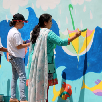 Art wall project    A volunteer program with 50 of DBS staff to paint murals with homeless children.