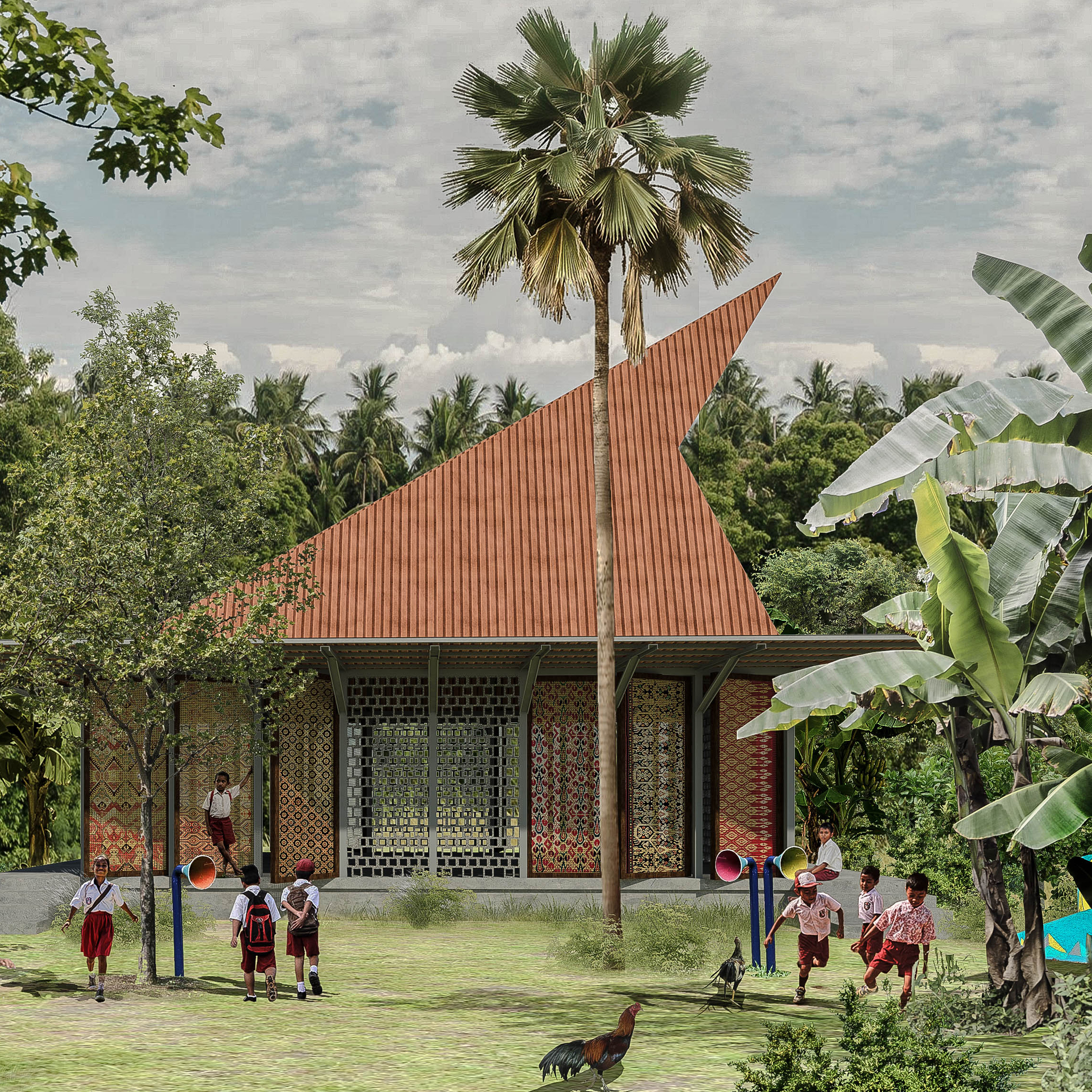 Village school   Sumba, Indonesia  A scalable prototype providing a new learning environment through sustainable design in climatically sensitive regions.