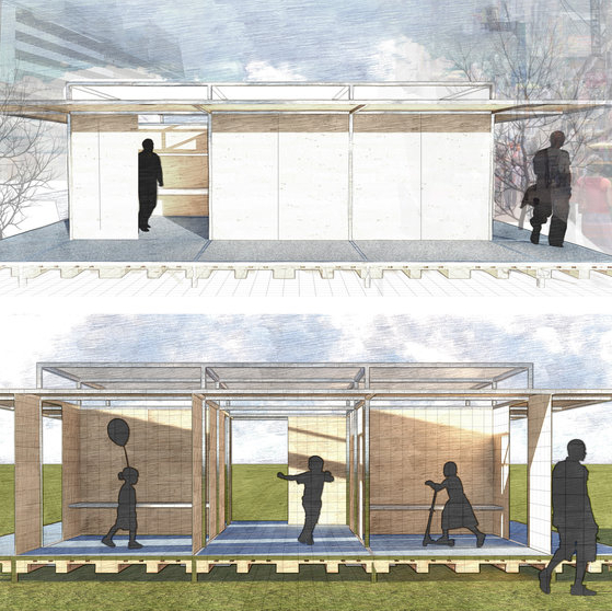 podHYDE  A semi-permanent all season WiFi enabled shelter which can be used as a kiosk or combined into a communal urban space.