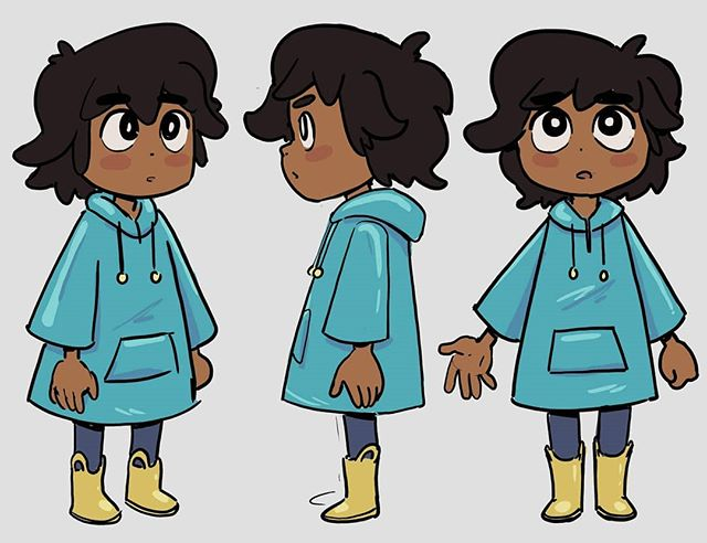 New storyboard character. I colored their lil raincoat for run