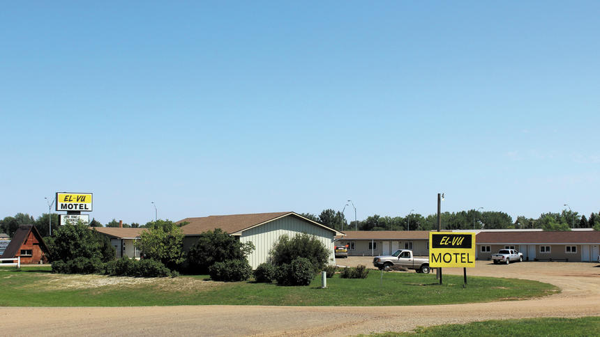 The El-Vu Motel in Bowman is shown on Monday. A man was found on Saturday dead in his own blood by staff. (Press Photo by Kalsey Stults)