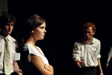 Alec Bombell as Albany, Danielle Nakkan as Regan and Stephen Sharpe as Lear in  King Lear  (2010).