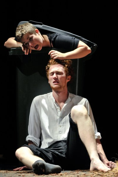Clare Matchett as Fool and Stephen Sharpe as Lear in   King Lear  (2010).