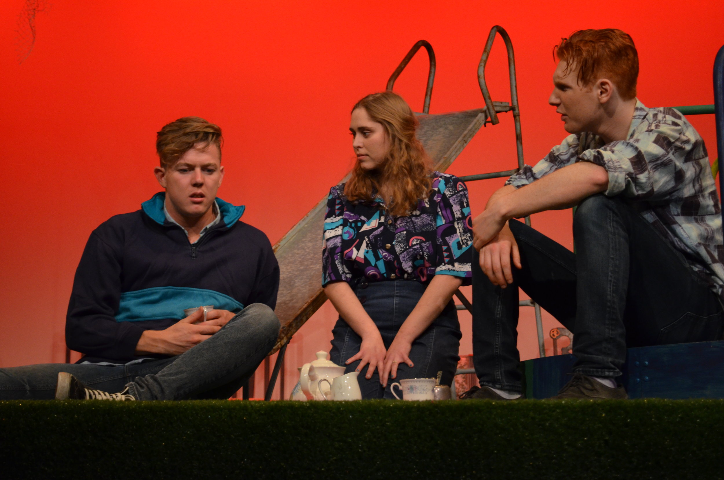 Duncan Carmichael as Moritz, Taylor Pearce as Mrs Gabor and Connor Ward-Kenway as Melchior in  Spring Awakening  (2017).