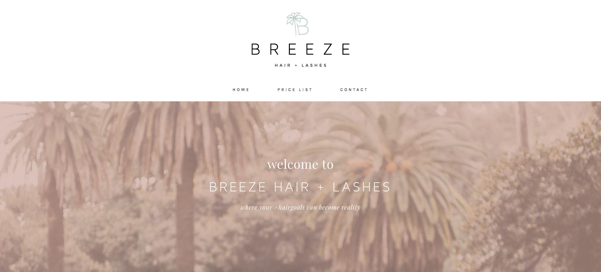 BREEZE HAIR + LASHES - BEAUTY WEBSITE