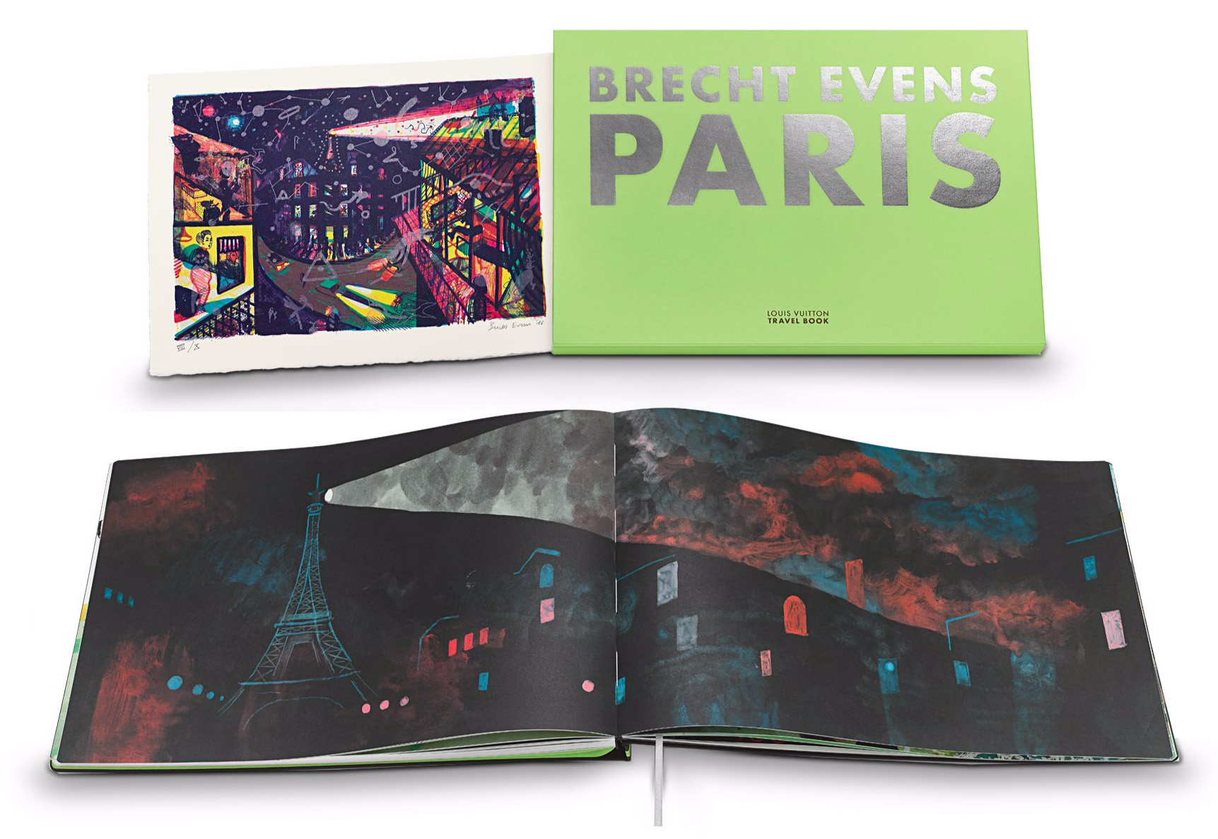 'Artist's Edition' of the Louis Vuitton Travel Book Paris, bound in leather with slipcase, 39 cm x 27 cm   contains an original lithograph, printed on Vélin de Rives paper by Atelier Michael Woolworth.  Limited edition of 30 copies  2500 €