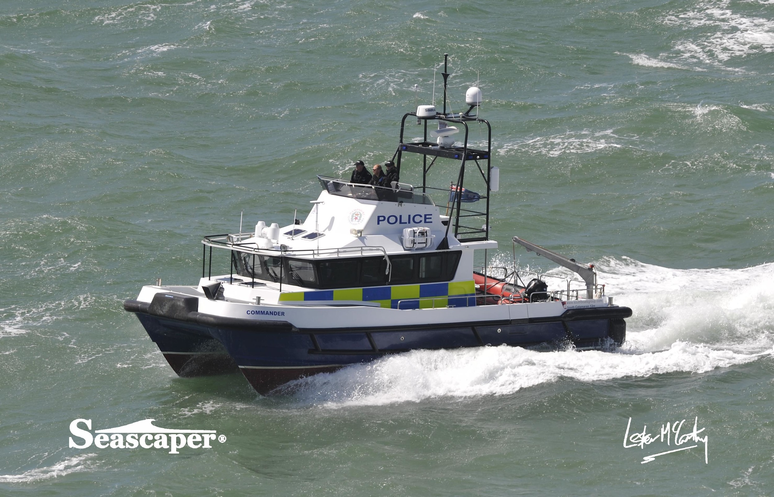 Police launch -  Commander  was the first rescue vessel on the scene.