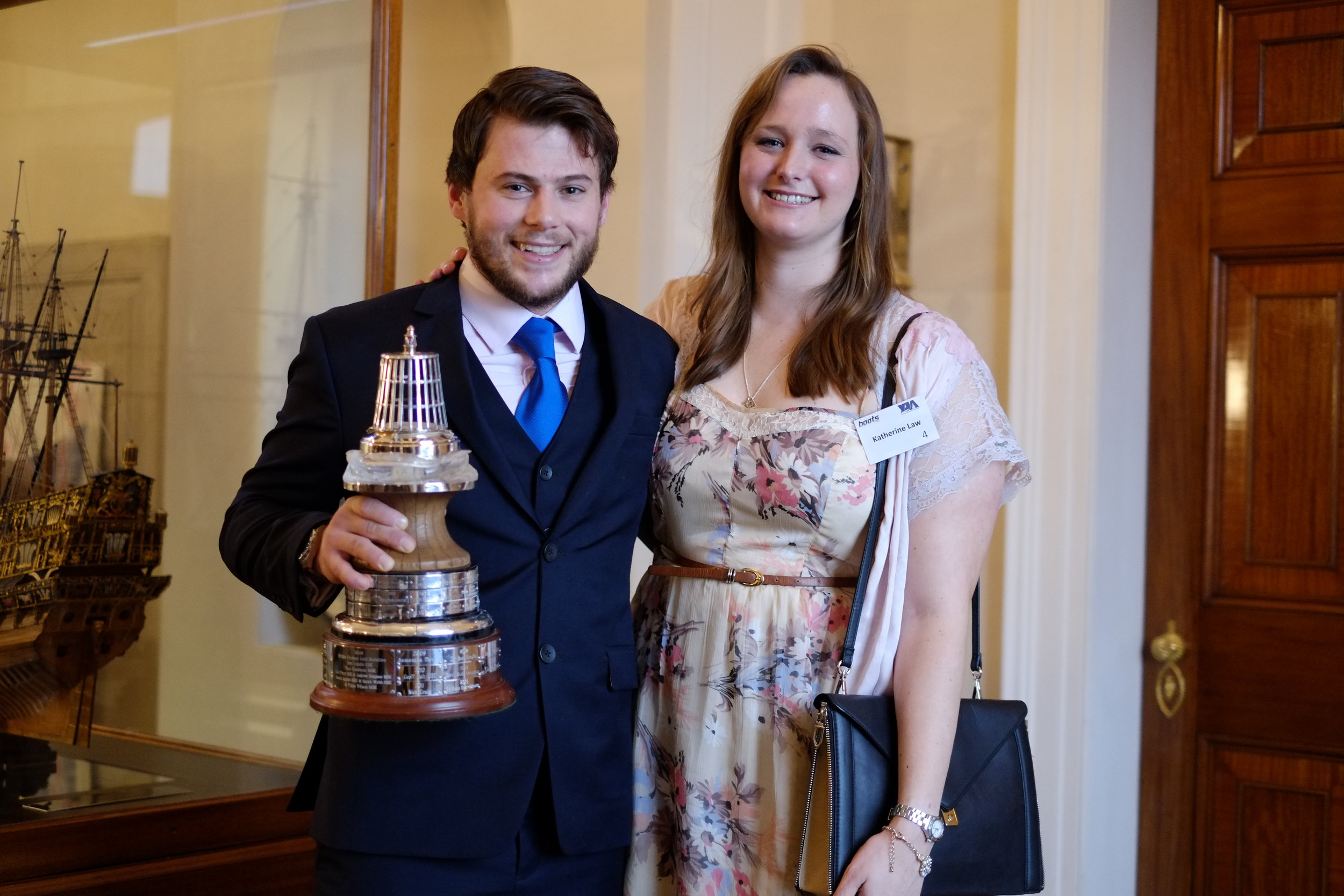 Gavin Reid - Yachtsman of the Year 2017 with his girlfriend Katherine Law, who filmed the rescue. They met on the race.
