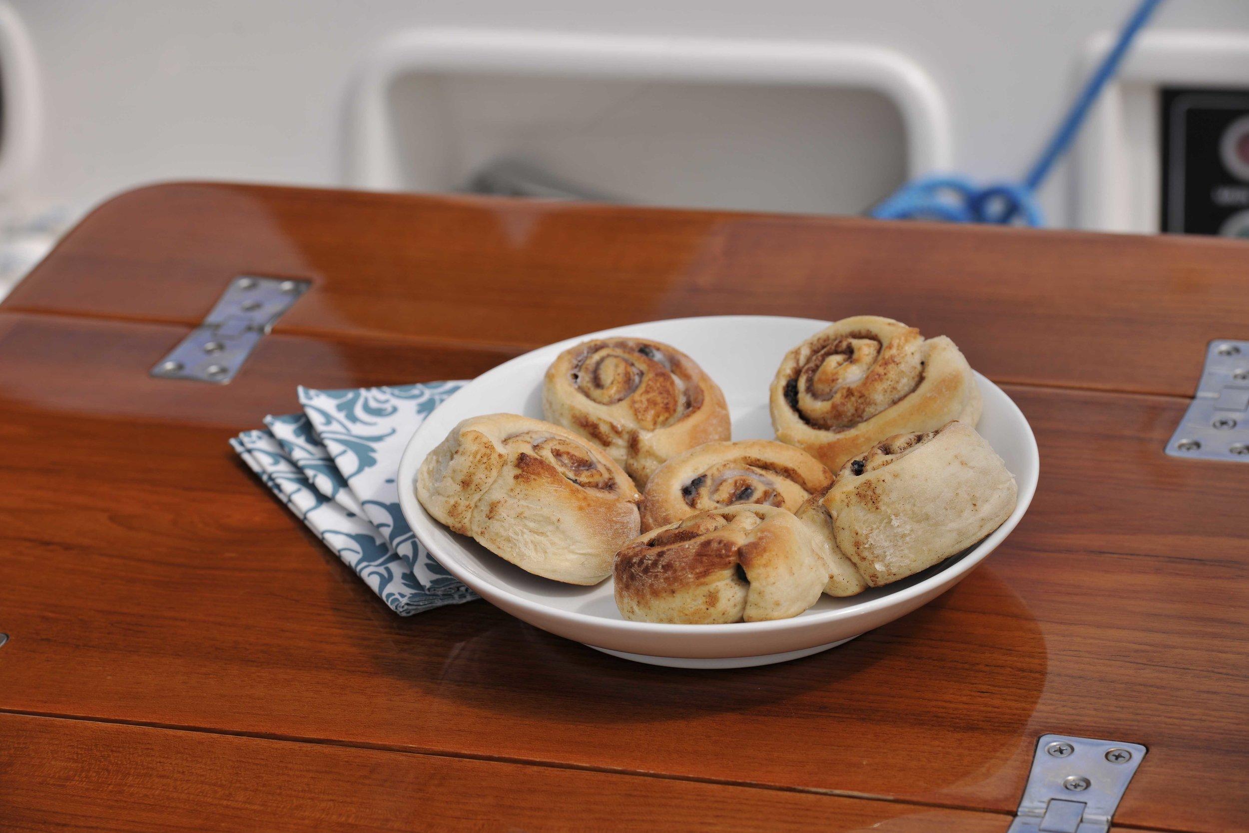 Freshly baked cinnamon rolls by Susie.